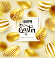 easter golden egg with calligraphic lettering vector image vector image