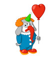 elephant evil clown with a balloon vector image vector image