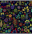 embroidery seamless pattern with beautiful flowers vector image vector image