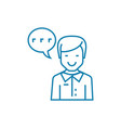 enthusiastic feedback linear icon concept vector image