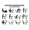 ergonomic electric standing desk table vector image