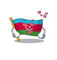 falling in love happy cute flag azerbaijan cartoon vector image vector image