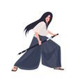 female japanese warrior or samurai girl young vector image vector image