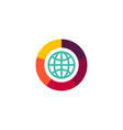 flat web icon logo globe with shutter camera icon vector image