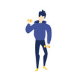 flat young man doing exercise with dumbbell vector image