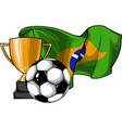 football ball with cup and brazil flag vector image vector image