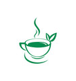 green tea drink logo icon vector image vector image