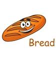 Happy cartoon crusty loaf of bread vector image vector image