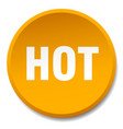 hot orange round flat isolated push button vector image vector image