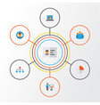 job flat icons set collection of pie bar group vector image