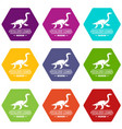 jurassic museum icons set 9 vector image vector image