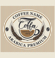 label for coffee beans with cup and wheat ears vector image vector image