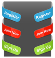 left right sign register join now sign up vector image vector image