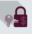 lock and key icon in flat style with shadow vector image