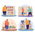 man and woman doing shopping with cart or trolley vector image vector image