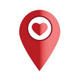 map pointer with heart icon on white background vector image vector image