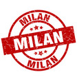 milan red round grunge stamp vector image vector image