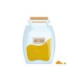 mustard powder stored in clear jar isolated on vector image vector image