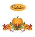 October banner with pumpkin autumn leaves and vector image vector image