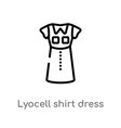 outline lyocell shirt dress icon isolated black vector image vector image