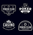 poker related labels emblems badges design vector image vector image