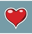 Red heart Valentine pop art retro label sticker vector image vector image
