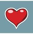 red heart valentine pop art retro label sticker vector image vector image