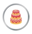 Red three-ply cake icon in cartoon style isolated vector image