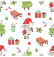 santa bell christmas seamless pattern illus vector image vector image