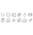 set business icons such as search map credit vector image vector image