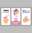 set hand drawn flat doodle for birthday vector image vector image