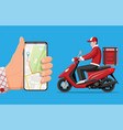 smartphone with app and man riding motor scooter vector image vector image
