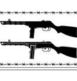soviet machine gun stencil and silhouette vector image vector image