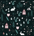 spring forest seamless pattern with rabbits birds vector image vector image