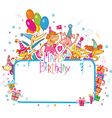 template for happy birthday card with place vector image vector image