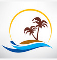 wave sun and palm symbol travel and summer time vector image