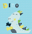 with cute little dinosaur vector image vector image