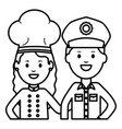 young female chef with officer police vector image