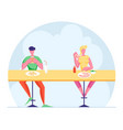 young man and woman sitting at desk on high stools vector image