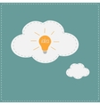 Idea light bulb in thought bubble cloud Flat vector image