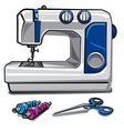 sewing machine and threads vector image