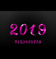 2019 pink new year sign with glitter and loading vector image vector image