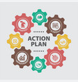 action plan concept with icons vector image vector image