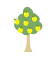 apple tree isolated garden wood with apples on vector image vector image
