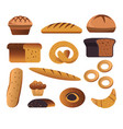 bakery products bread and pastry food isolated vector image
