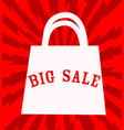 Big sale announcement with shopping bag over red