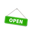 bright glossy open sign hanging on rope vector image vector image