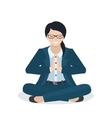 Business woman in a yoga pose vector image vector image