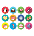 Christmas winter flat design icons - penguin vector image