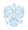 Coat of arms of Russia with blue pattern in vector image